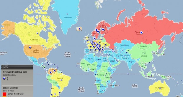 Carte de la taille moyenne des seins dans le monde par pays