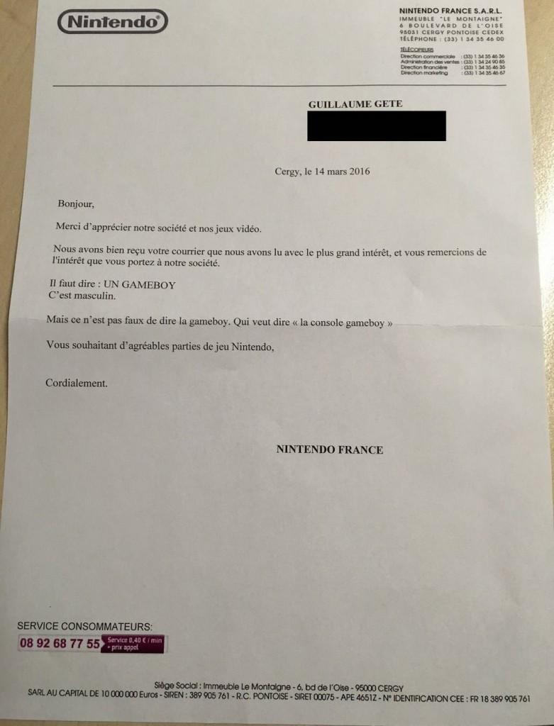 La réponse officielle de Nintendo France sur le genre de sa console Game Boy.