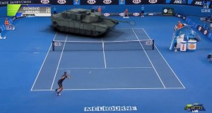 [Vidéo] Tennis : Djokovic joue contre un char de combat
