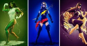 Les combinaisons des super-héroïnes en peinture liquide